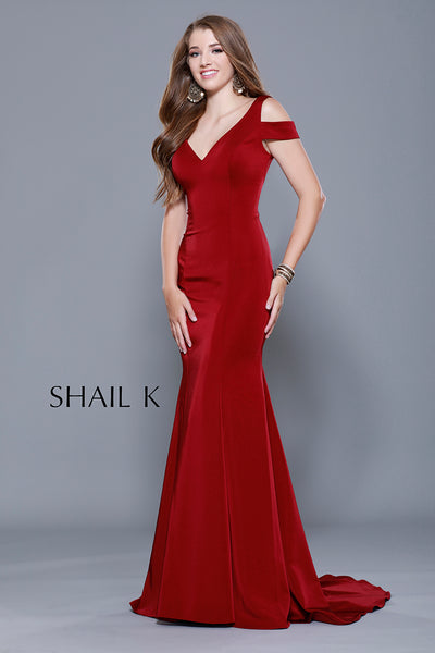 V-Neck Cold Shoulder Strap Red Mermaid Style Prom Dress 33905