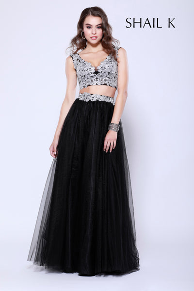 Two Piece Embellished Prom Dress 33908