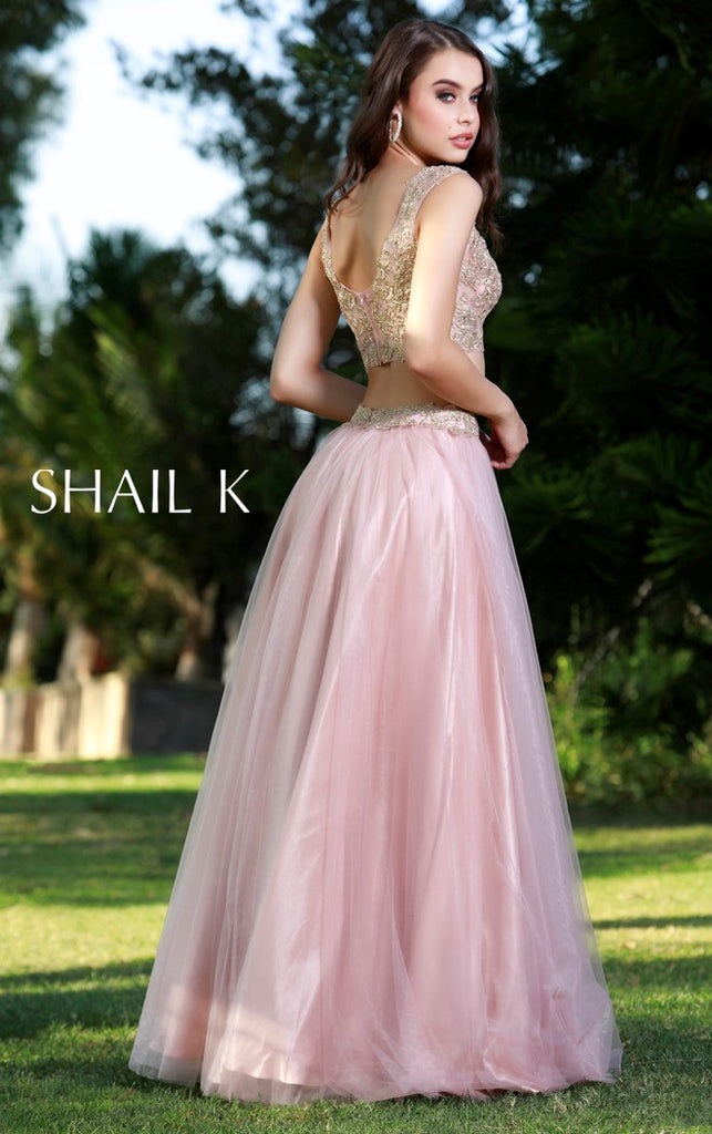 Two Piece Embellished Prom Dress 33908 Dusty Rose Dress Shail K