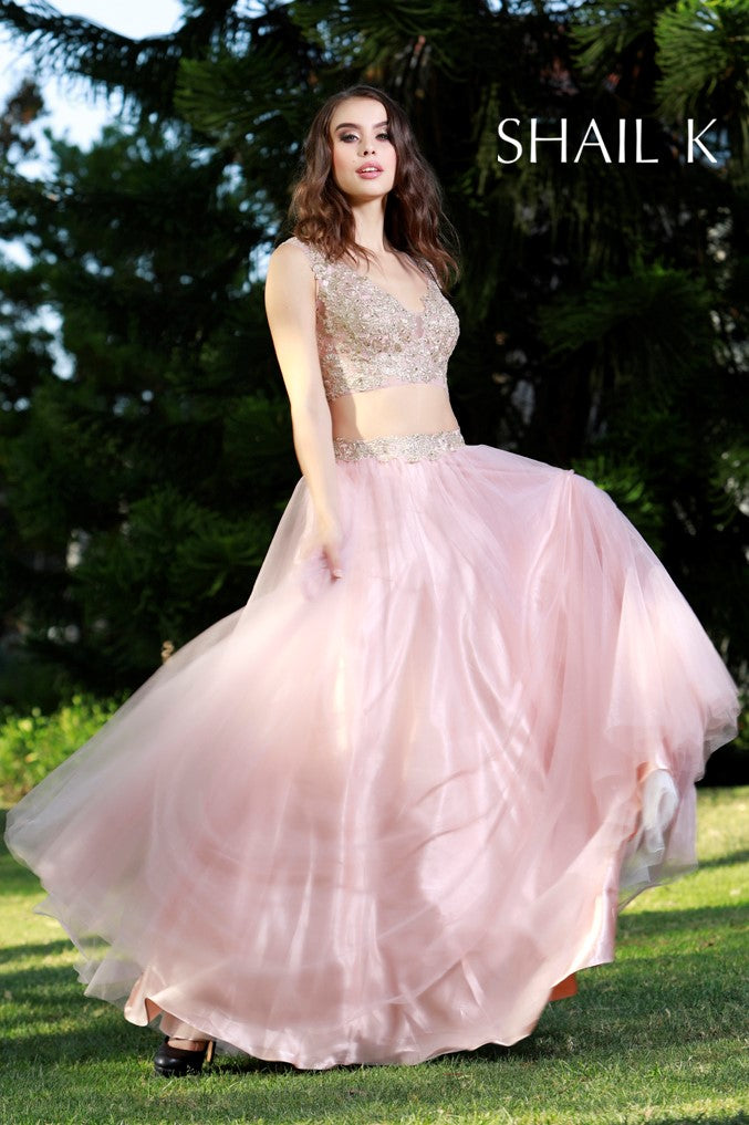 Two Piece Embellished Rose Prom Dress 33908