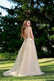 Embellished Body Hugging Nude Prom Dress With Over skirt 33913