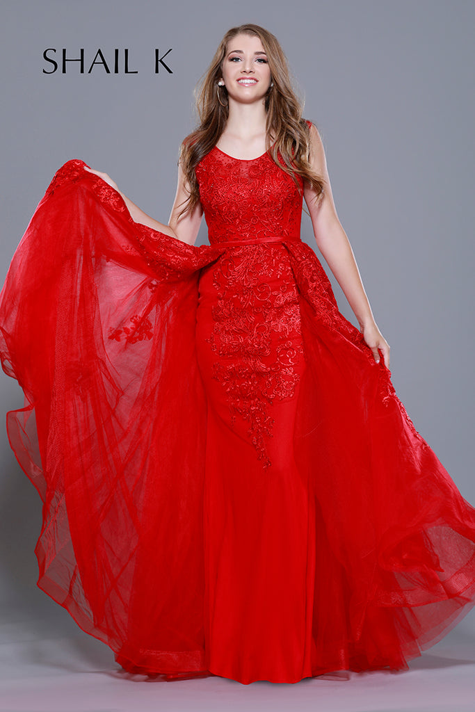 73b37d3336 Embellished Body Hugging Red Prom Dress With Over skirt 33913