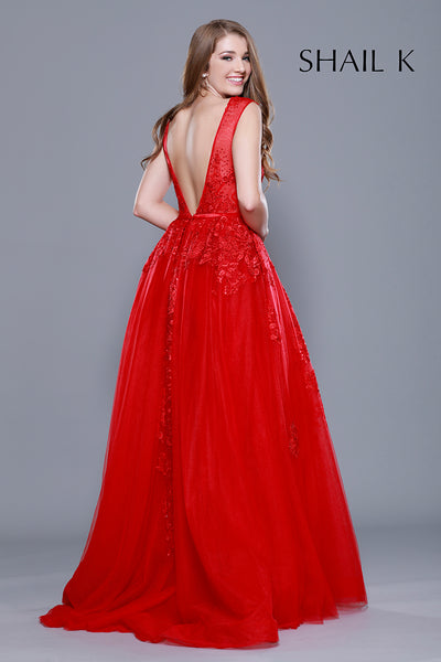 Embellished Body Hugging Red Prom Dress With Over skirt 33913