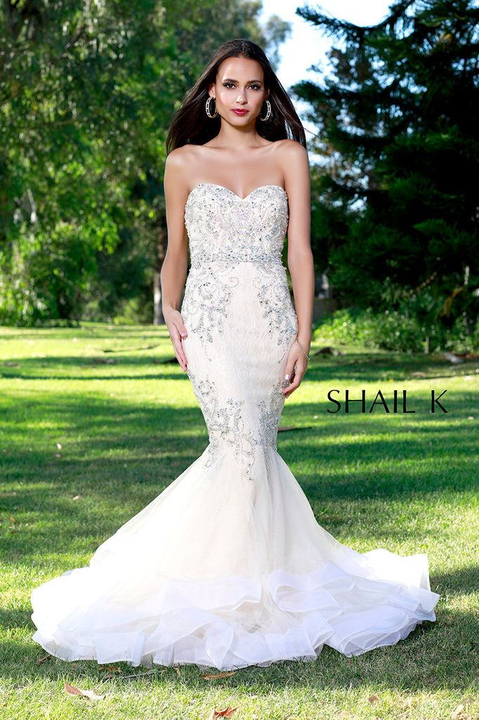 Strapless Sweetheart Belted Embellished Mermaid Style Prom Dress ...