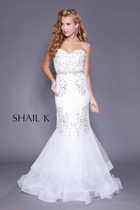 fc16d8b738a7f Strapless Sweetheart Belted Embellished Mermaid Style Prom Dress 33918  IVORY Dress | Shail K Dresses