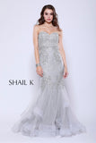 Strapless Sweetheart Belted Embellished Champagne Mermaid Style Prom Dress 33918