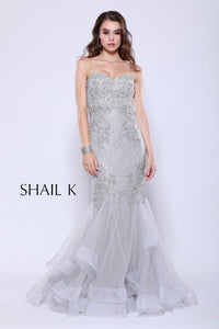 Strapless Sweetheart Belted Embellished Silver Mermaid Style Prom Dress 33918