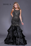 Sheer Illusion Embellished Champagne Mermaid Style Prom Dress 33919