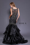 Sheer Illusion Embellished Black Mermaid Style Prom Dress 33919
