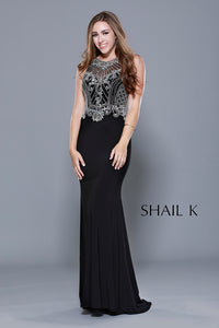 High Neck embellished Bodice Body Hugging Prom Dress 33923