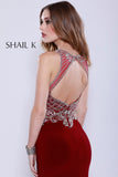High Neck embellished Bodice Body Hugging Burgundy Prom Dress 33923