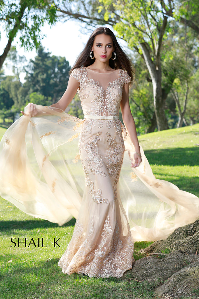 Embellished Mermaid Style Champagne Prom Dress With Detachable Train ...