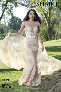 Embellished Mermaid Style Champagne Prom Dress With Detachable Train 33924