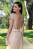 Embellished Mermaid Style Silver Prom Dress With Detachable Train 33924