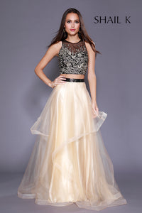 Two Piece Embellished Bodice Tiered Style Prom Dress  33926