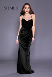 Sweetheart Cross Back Gathered Black Velvet Prom Dress 33928