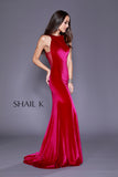 High Neck Sheer Illusion Velvet Prom Dress 33930