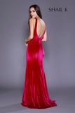High Neck Sheer Illusion Burgundy Velvet Prom Dress 33930