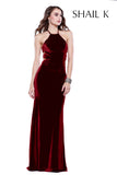 Halter Style Strap Back Black Velvet Prom Dress 33931