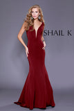 Plunging Neckline Burgundy Mermaid Style Prom Dress 33932