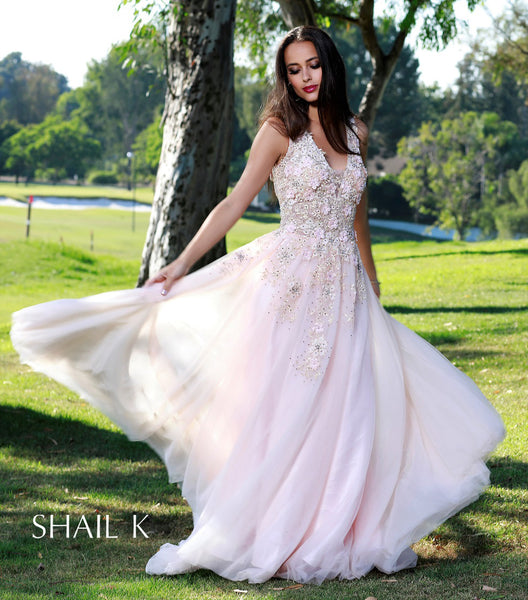 Floral V-Neck Embellished Rose Princess Style Prom 33934