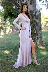 Long Sleeve Body Hugging Shoulder Cut Out Blush Prom Dress 33937