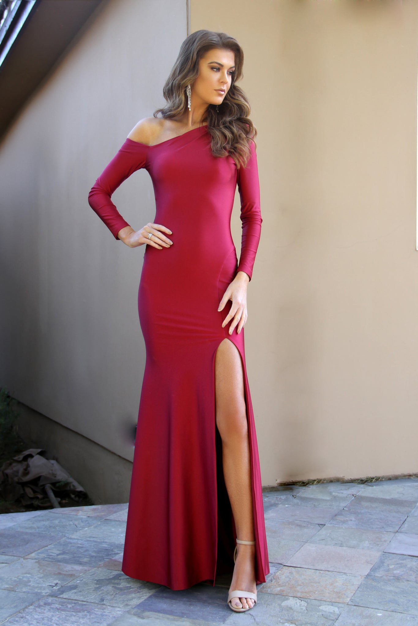 Long Sleeve Body Hugging one shoulder Burgundy Prom dress 33938