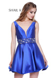 V-Neck Low Back Satin Fit To Flare Homecoming Dress 33949
