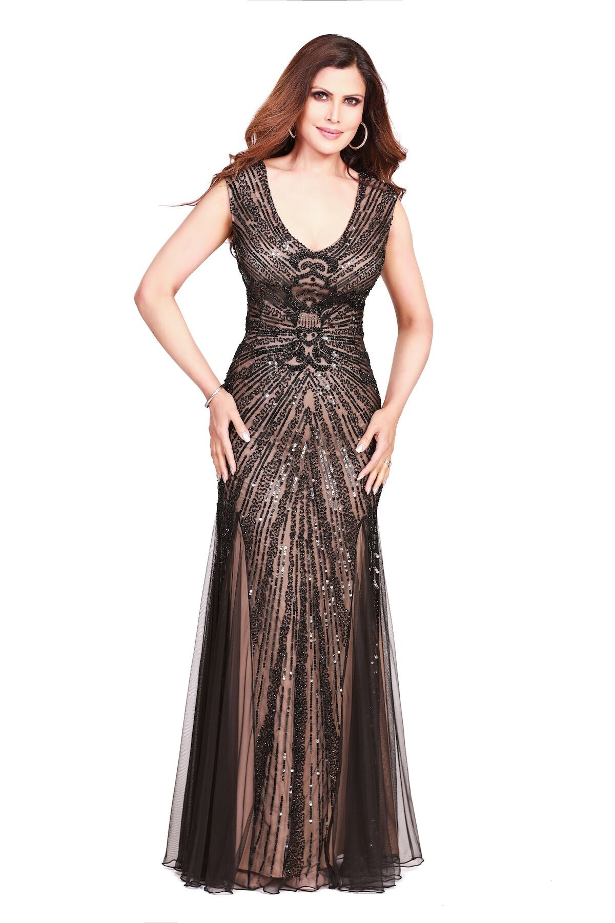 V-Neck A-Line embellished Evening Dress Black Nude 3749