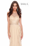 High Neck Embellished Red Carpet Style Gold Dress 40226