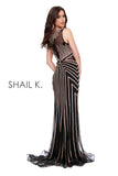 High Neck Sheer Illusion Embellished Red Carpet Style Dress 41226