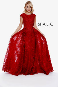 High Neck Cap Sleeve Embellished Couture Dress With Overskirt 41816