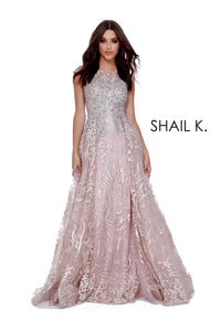 High Neck Cap Sleeve Embellished Couture Dusty Rose Dress With Overskirt 41816