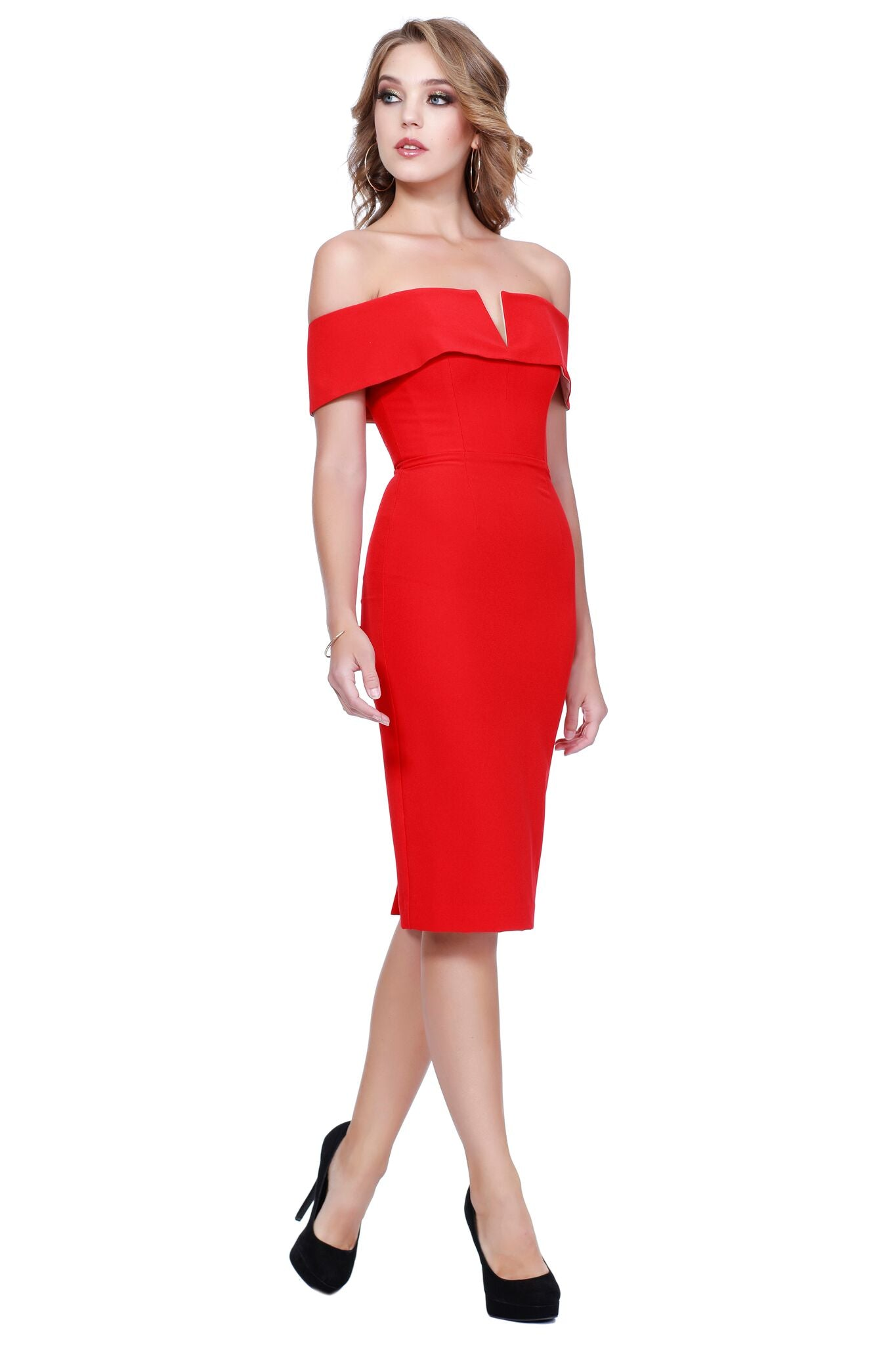 Off The Shoulder Body Hugging Pencil Style Red Dress 31915
