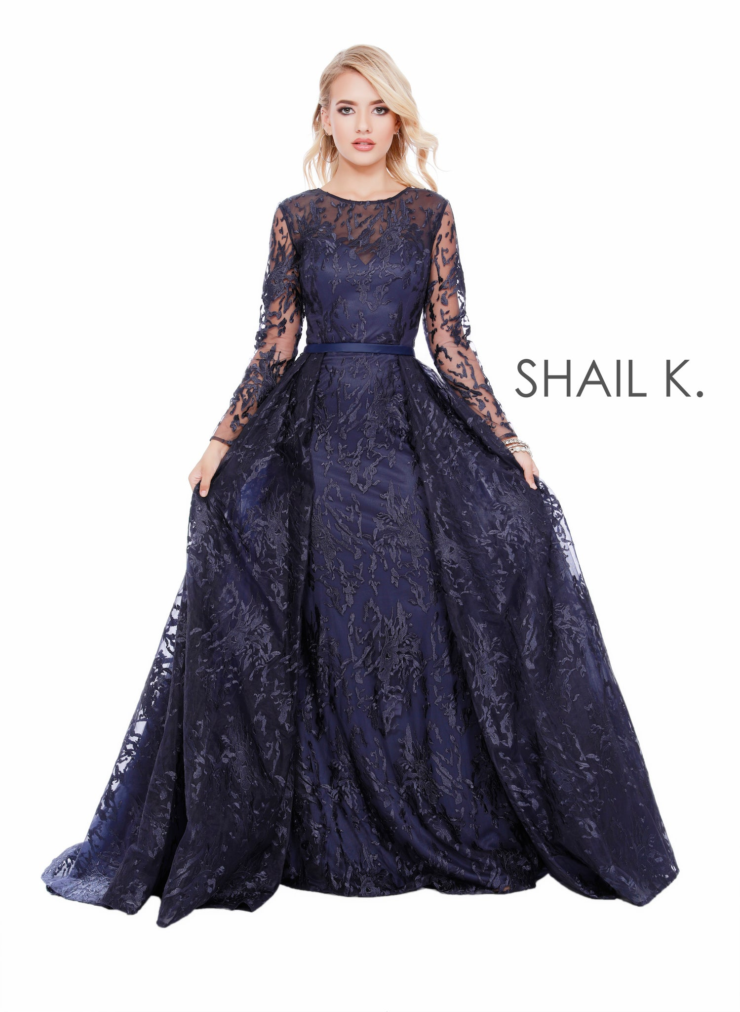 Long Sleeve Scoop Neck Sheer Illusion Couture Style Navy Dress 43916