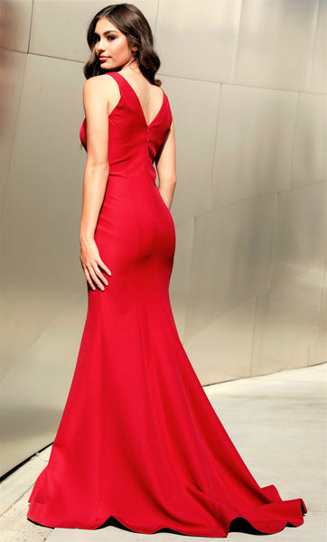 Deep V-Neck Sheer Illusion Body Hugging Red Prom Dress 45947