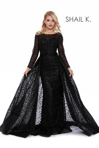 Long Sleeve Full Glitter Couture Black Dress With Overskirt 46026