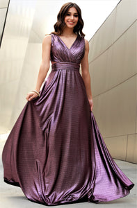 V Neck Sheer Illusion Fit To Flare Glitter Purple Prom Dress 47257