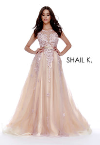 Belted Sheer Illusion Embellished Couture Style Prom Dress 49301