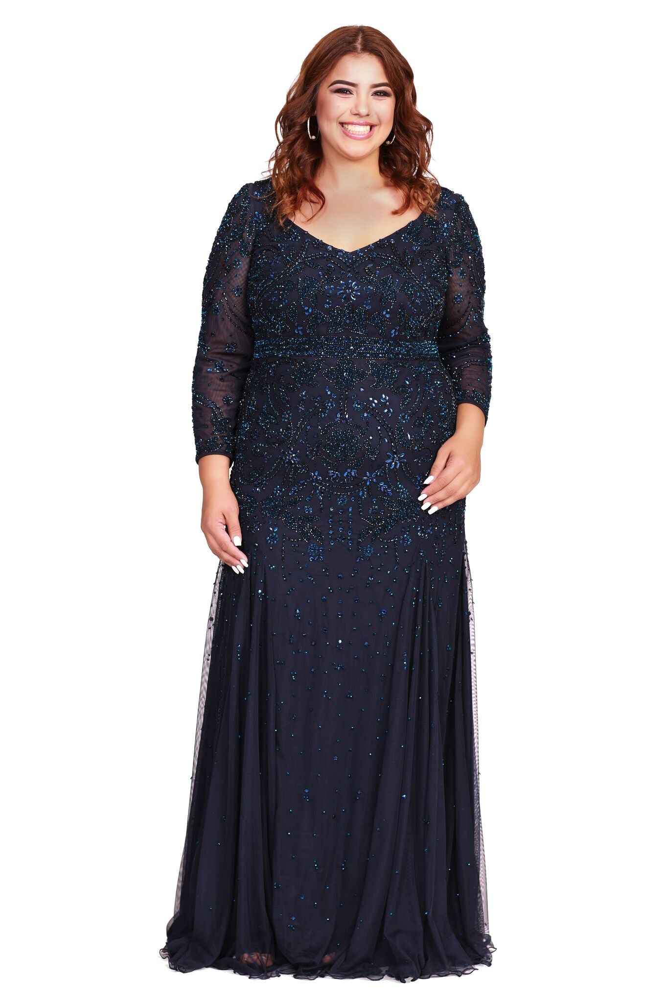 V-Neck Long Sleeve Belted A-Line Style Mother of The Bride Dress Navy 12162W