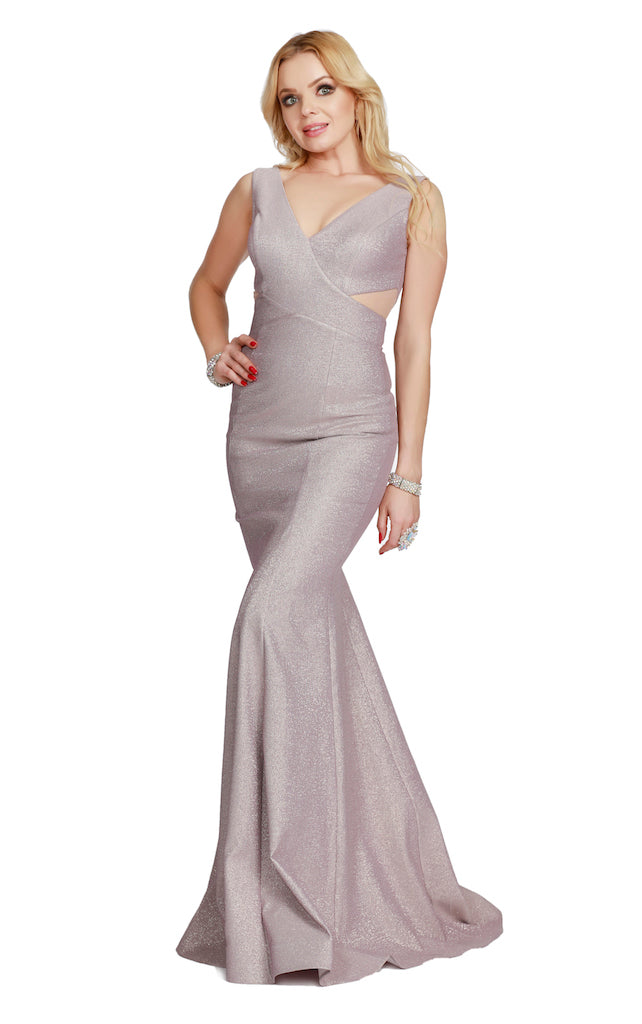 V-Neck Sheer Illusion Body Hugging Glitter Mermaid Style Charcoal Prom Dress 41057