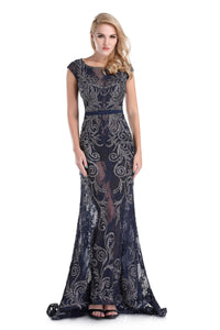 High Neck Cap Sleeve Belted Body Hugging Navy Mother Of The Bride Dress 71555