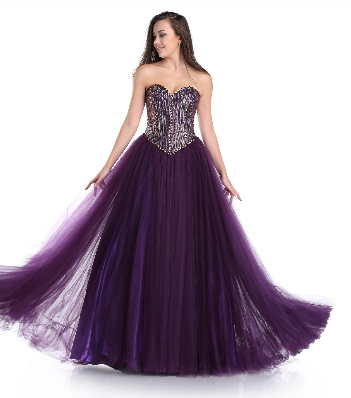 Strapless Sweetheart Fit To Flare Beaded Bodice Purple Prom Gown 71589