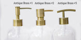 3 brass soap dispenser pump style options, one burch way