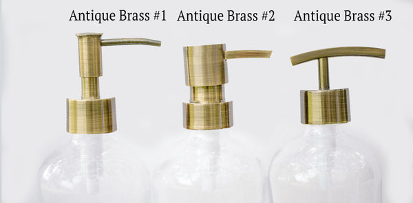 brass replacement pump, brass soap dispenser pump options, one burch way