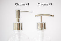 chrome soap pump choices, one burch way