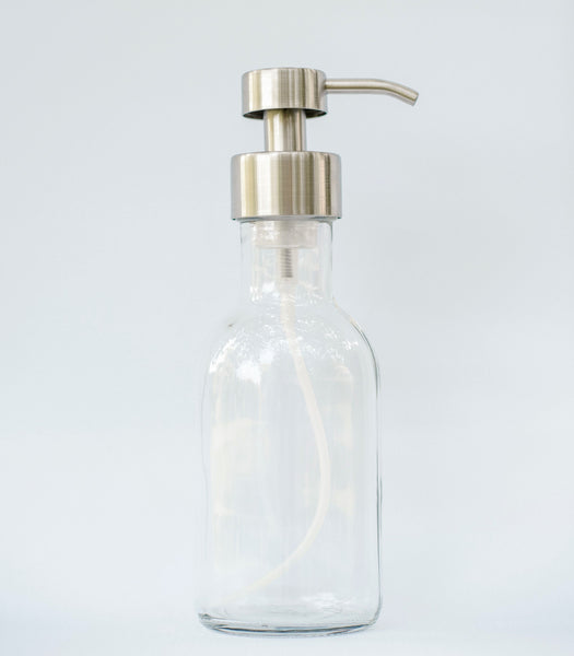 foaming soap dispenser, clear glass soap dispenser with stainless foaming soap pump, one burch way