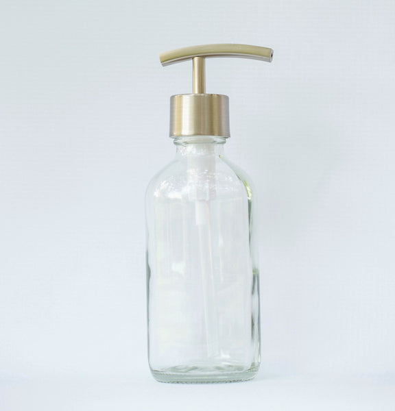 clear glass soap dispenser, hand soap dispenser, liquid soap dispenser, one burch way