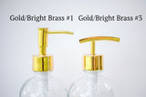 2 gold soap dispenser pump styles to choose from, one burch way