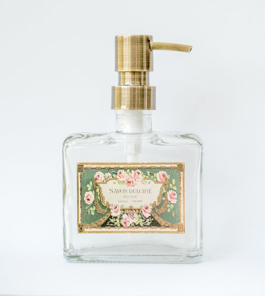 square clear glass soap dispenser with shabby chic french soap label, one burch way